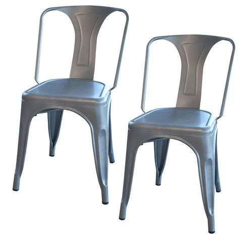 Metal Dining Room Chair Amerihome Silver Metal Dining Chair Set Of 2 Bs3530gset The Home Depot