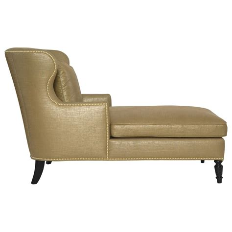 gold chaise nia hollywood regency antique nickel nailhead gold linen