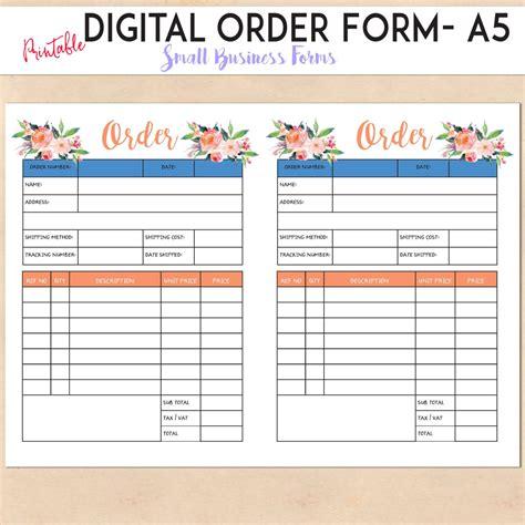 Digital Order Form Printable Template Custom Personalised Small Business Handmade Etsy Custom Template