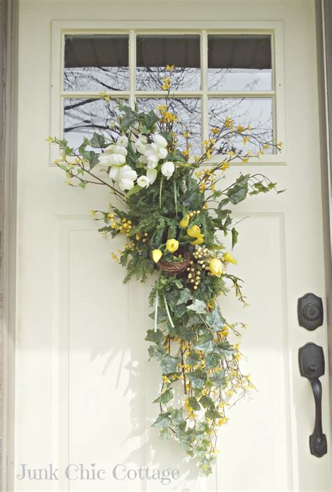 Front Door Flower Arrangements Junk Chic Cottage Awaking Garden
