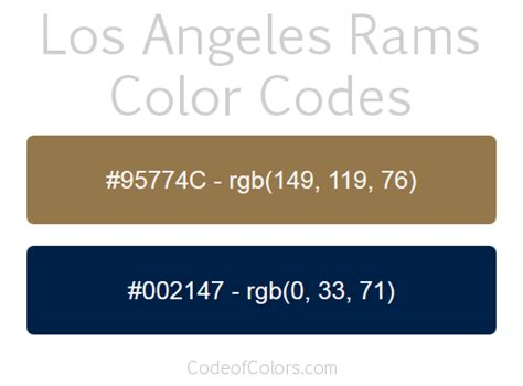 la rams colors los angeles rams colors hex and rgb color codes