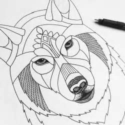 Wolf Zentangle Outline by Zentangle Wolf Template Diy Animal Tangle Origami Zoo