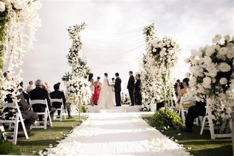 All White Beach Ceremony & Sophisticated Ballroom Reception   Inside Weddings