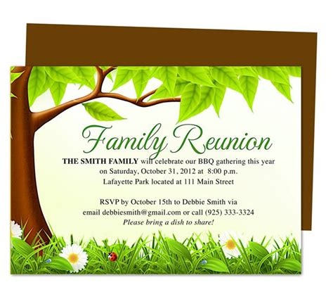 printable family reunion invitation cards family tree reunion party invitations templates