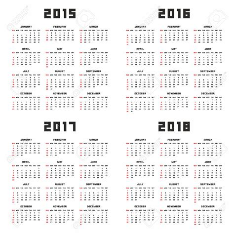 printable 3 year calendar 2015 to 2018 image gallery scheduling calendar 2016 2017 2018