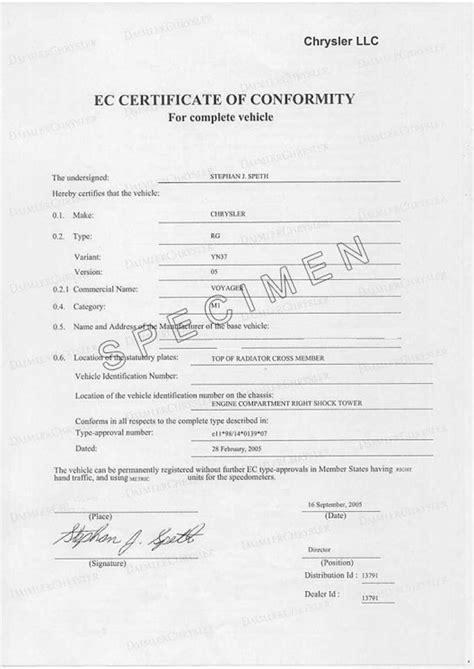 Certificat de conformité COC Fiat