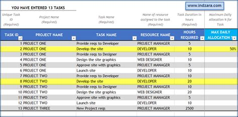 excel template for daily tasks project planner adv excel template v2 enhancements