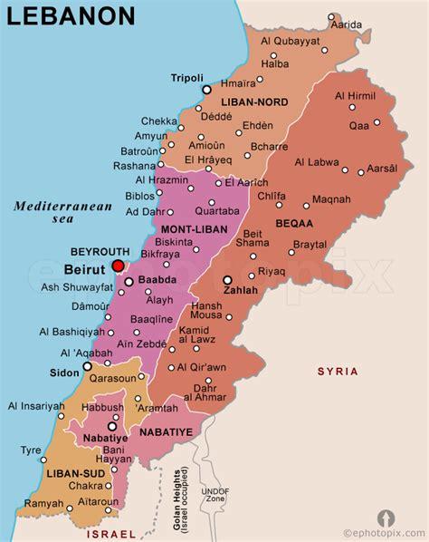 map of lebanon libanon politische karte