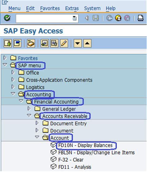 sap tutorial for accounts receivable customer balance display sap menu path accounts