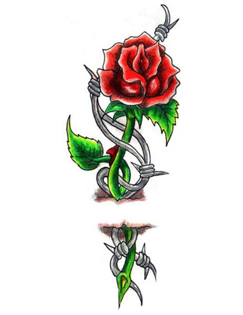 rose and barbed wire tattoo barb wire and through skin free design ideas