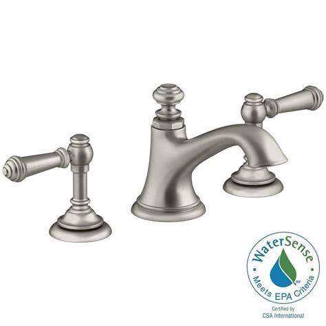 Kohler Bathroom Shower Faucets Design Kohler Artifacts 8 In Widespread 2 Handle Bell Design Bathroom Faucet In Vibrant Brushed Nickel