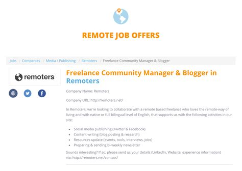 blogger jobs remote freelance community manager blogger remote job offer at