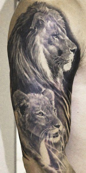 tattoo family lion beautiful black and grey lion family tattoo by aron szabo