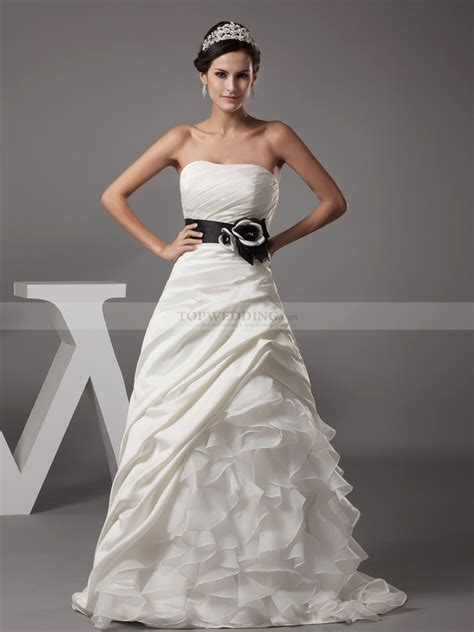 strapless a line wedding gown with organza ruffle skirt
