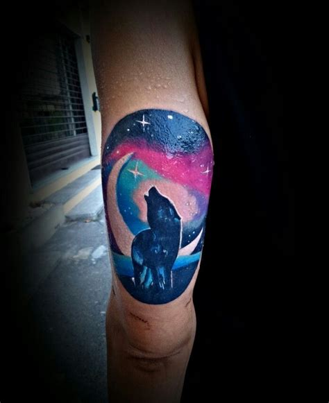 watercolor tattoo universe wolf and moon universe watercolor big