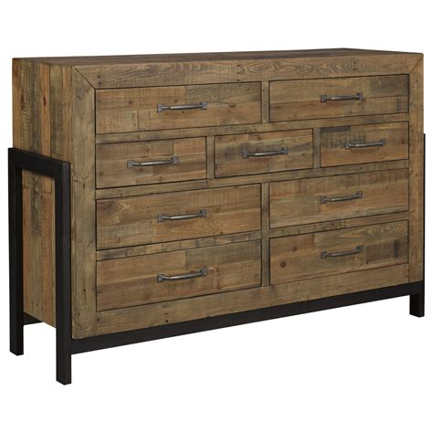 metal and wood bedroom furniture signature design by ashley sommerford b775 31 reclaimed