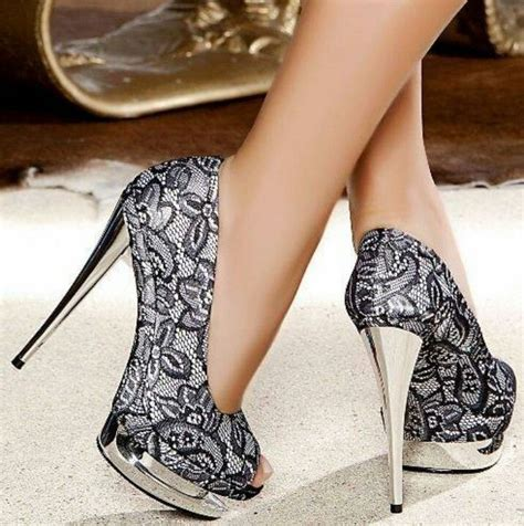black lace stilettos with silver platform and heels