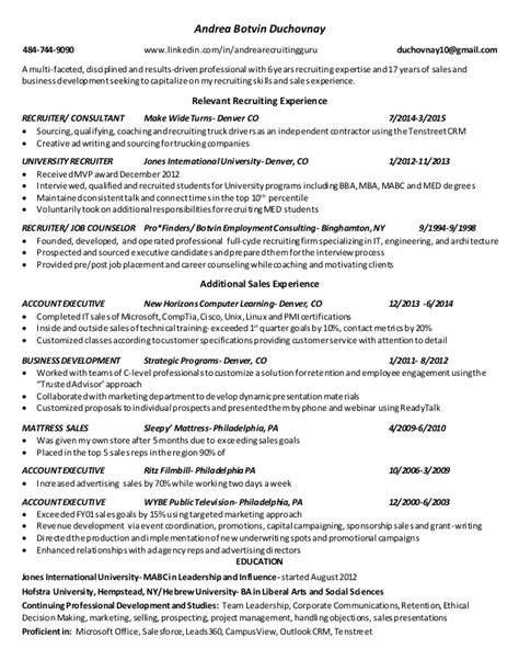 recruiter sle resume staffing recruiter resume 47 images resume exle 57