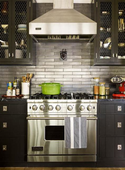 Black Metal Kitchen Cabinets Black Cabinets With Stainless Steel Backsplash Contemporary Kitchen