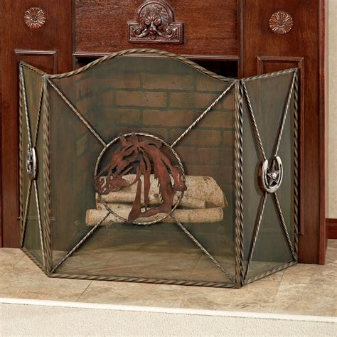 western themed metal fireplace screen