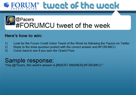Forum Credit Union Weekly 5 Forum Credit Union Tweet Of The Week The Official Site Of The Indiana Pacers