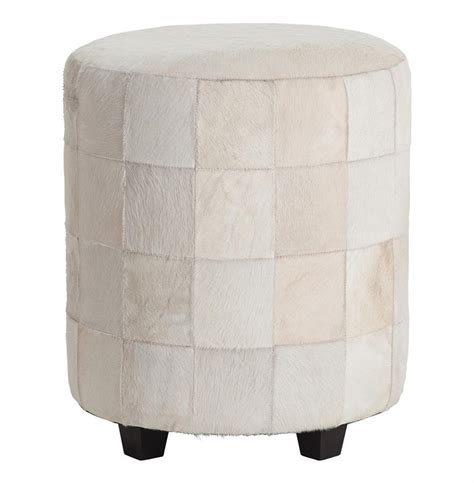 White Leather Ottoman Wimberely Patchwork White Leather Ottoman Footrest Kathy Kuo Home