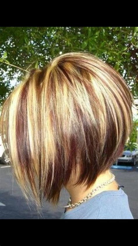 chuncky bob hair cuts inverted bob with chunky highlights short hairstyle 2013