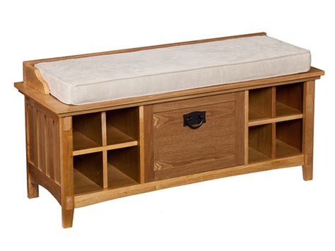 mission style bench with shoe storage large artisan storage bench