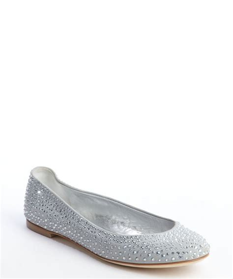 Giuseppe Zanotti Studded Leather Ballet Flats Review by Giuseppe Zanotti Grey Rhinestone Studded Leather