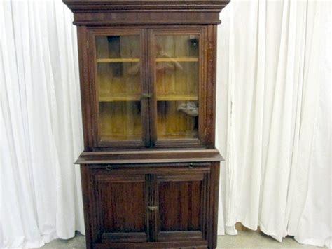 Antique Dark Walnut Arts Crafts China Cabinet Hutch For Antique China Cabinets For Sale