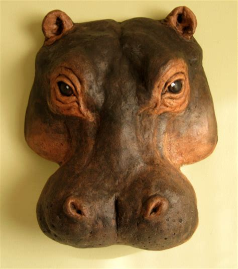 Make Animal Sculptures With Paper Mache Clay - paper mache hippo wall mask this was made with an