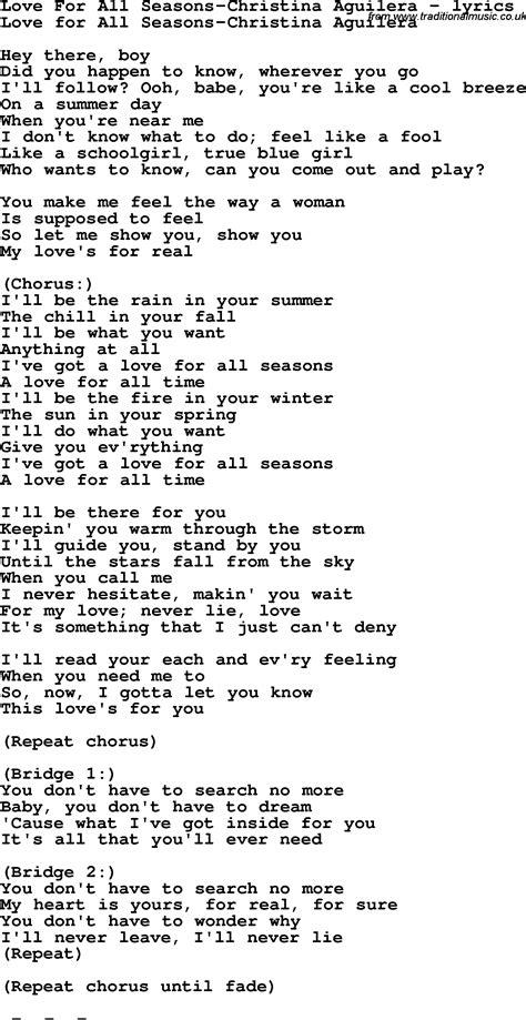 season for love love song lyrics for love for all seasons christina aguilera
