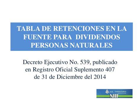 tabla impuesto renta distribucion dividendos 2014 en el ecuador no aplica sustituida jul 2015 res nac dgercgc15 00000509