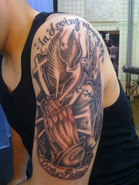 half sleeve tattoo with cross religious sleeve tattoos designs ideas and meaning