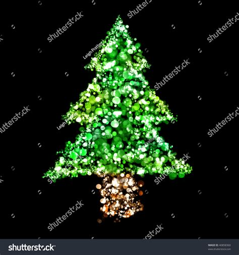 lights in the shape of a christmas tree stock photo