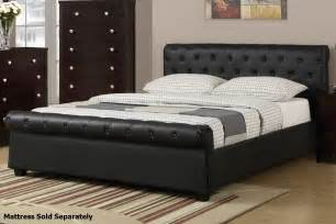Size Of A Queen Size Bed Poundex F9246q Black Queen Size Leather Bed Steal A Sofa