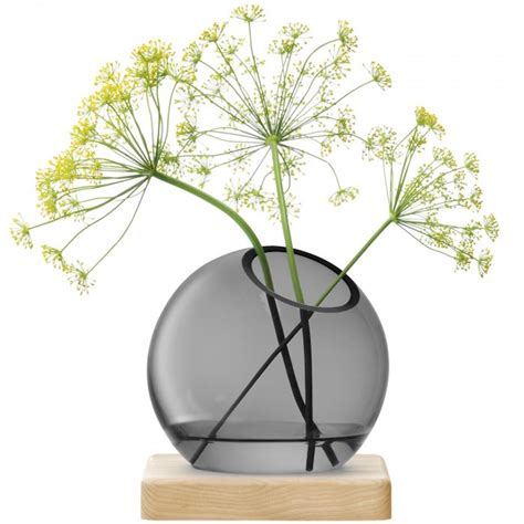 Green Vases And Bowls Lsa Axis Handmade Glass Vase With Ash Base Grey Black