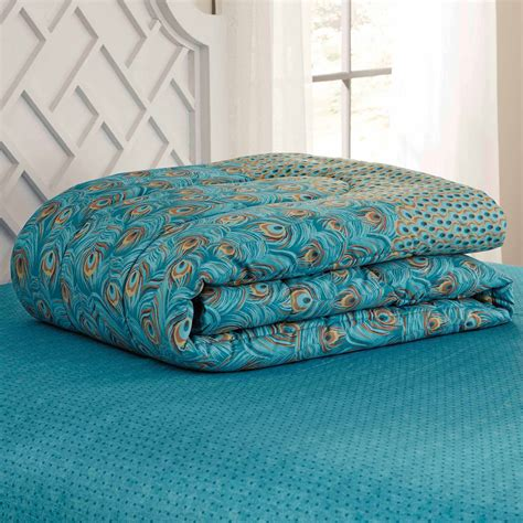 Peacock Feather Comforter Set by Mainstays Bed In A Bag Bedding Comforter Set Peacock Feather Ebay