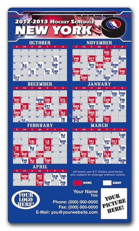 printable rangers schedule new york rangers pro hockey schedule magnets 4 quot x 7