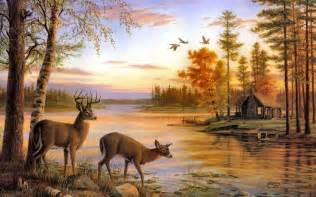 deer landscape drawings nature pictures cabin and deer paintings