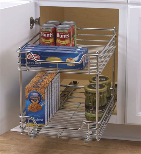 Kitchen Cabinet Organizing Systems by Chrome Two Tier Sliding Cabinet Organizer In Pull Out Baskets