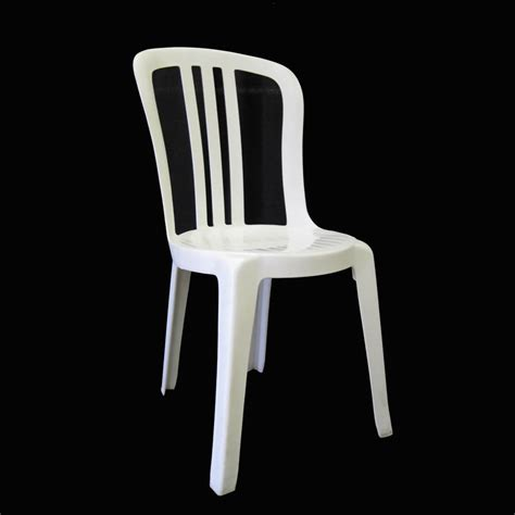 White Plastic Stackable Chairs by Chairs General Rental