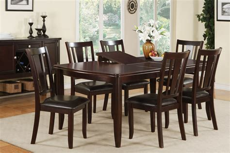 dining table set with leaf espresso finish