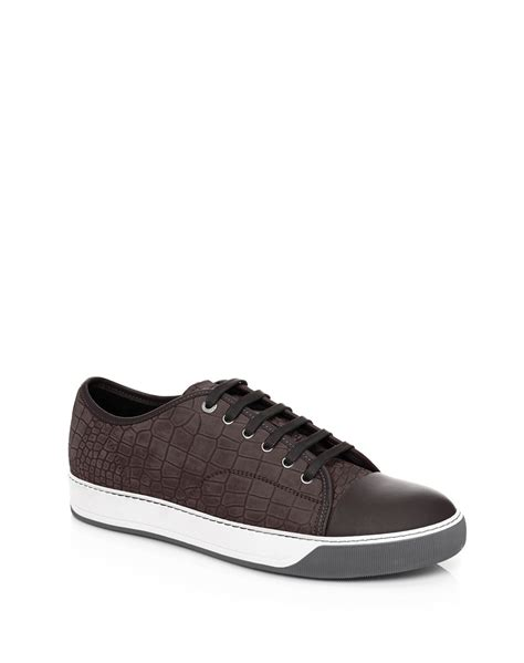 lanvin s sneakers lanvin croc embossed nubuck low top sneakers in gray for