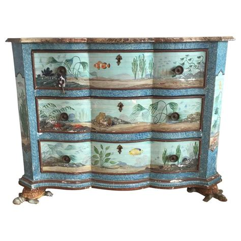 Turtle Dresser by Painted Aquatic Turtle Footed Chest Dresser For Sale