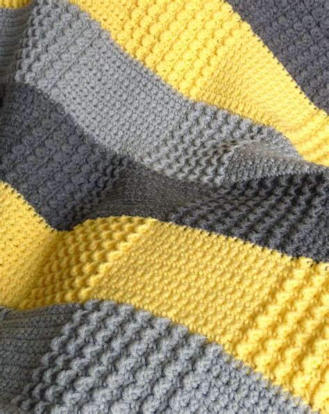 yellow pattern blanket crochet gray yellow baby blanket made to order grey