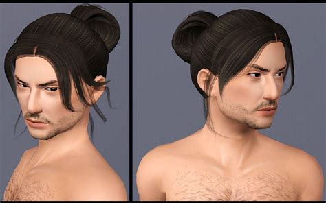 man male bun sims 3 mod the sims two historical asian inspired long tied
