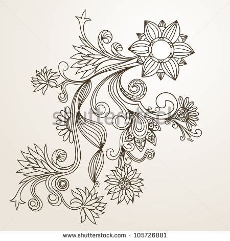 floral pattern hand drawing floral pattern hand drawing illustration 105726881