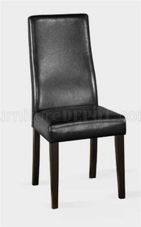 black bycast leather set of 2 modern dining chairs