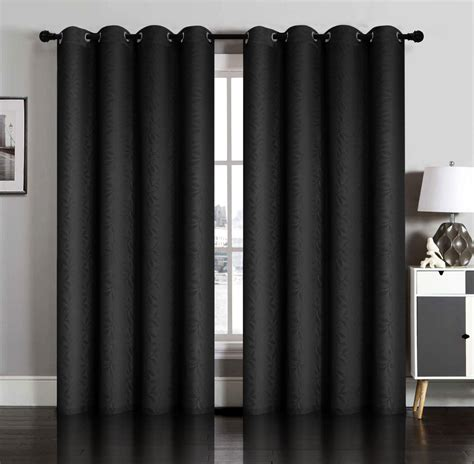 black drapery panels pair of susan blackout embossed window curtain panels w